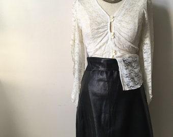 Vintage 70s, 1970s lace blouse top, button down blouse, romantic, hippy, Stevie Nicks, goth, XS