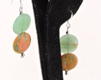 Sterling Silver Jade And Unakite Disc Earrings