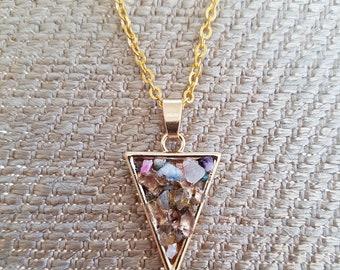 Triangular druzy agate necklace