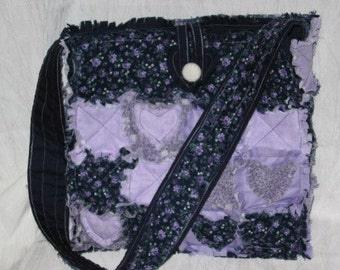 Rag Quilt Tote with Heart Appliques Mailed Paper Pattern by Sew Practical, Mom and Pop Craft