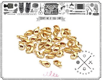 6X10MM 50PCS Premium TINY GOLD Plated Lobster Claw Clasp Jewelry Findings Best QUALITY.