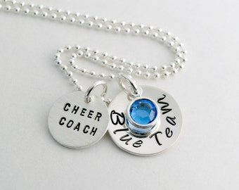 Coach Gift - Cheerleading Coach Necklace Team Cheerleader Jewelry Hand Stamped Sterling Silver - End of Season Coach Gift