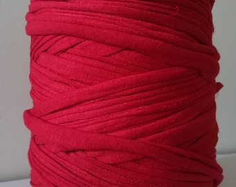 Red Tshirt yarn,T-Shirt yarn, cotton cord,Zpaghetti Yarn,Necklaces Bracelets, home decor, trapillo yarn, spaghetti yarn, chunky yarn