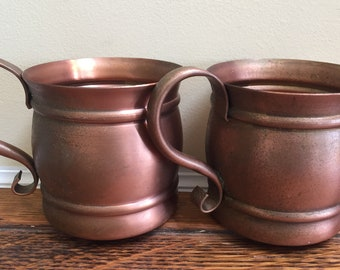 Gregorian Copper Mugs / Pair of Two / Made in the USA/ Solid Copper Mugs