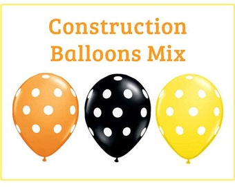 "Construction polka dot Print 11"" Balloons birthday party decorations orange yellow black"