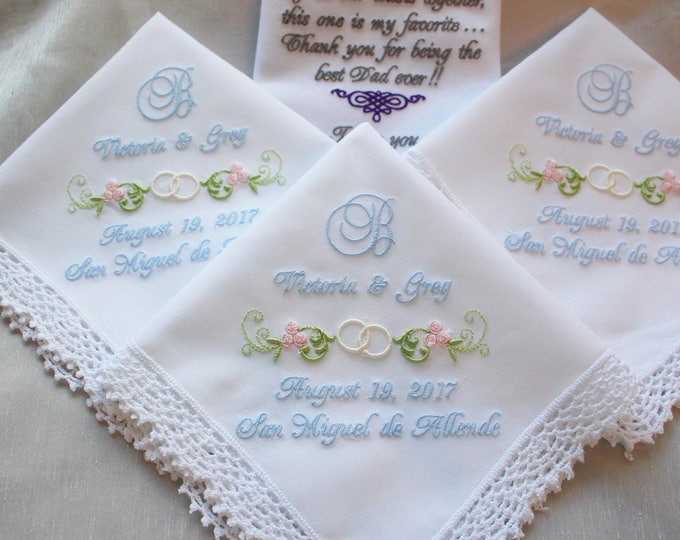 Set of Four Embroidered Wedding Handkerchief/Mother of the Bride Gift/ Father of the Bride/Flower Girl Gift/Personalized/Mother of the Groom