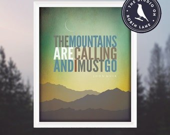 """The Mountains are Calling [No.2] John Muir  11""""w X14""""h  Hiking, Typographic, Outdoor, Nature Decor & Housewares Wall Decor"""