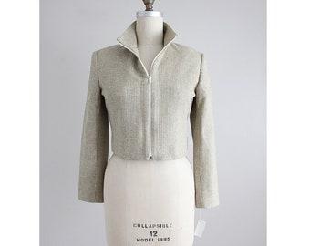 veste en tweed de soie recadrée | veste en soie tissé | pantacourt fermeture éclair