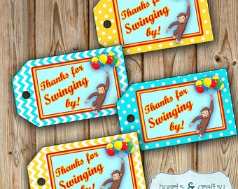 Curious George Party Favor Tags / Gift Tags - Two Styles - Instant Download FILE to PRINT DIY