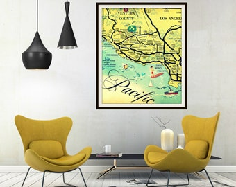 Vintage California Art, Los Angeles Map, Santa Monica Map, Ventura Map, Hollywood Map, Gifts for Him Beach Art California Map Art, Map Decor
