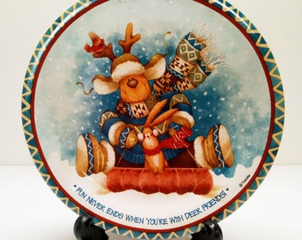 "Reindeer Christmas Plate with Stand and Original Box ""Fun never ends when you're with deer friends"" - Holiday Decor Decoration Rabbit Sled"