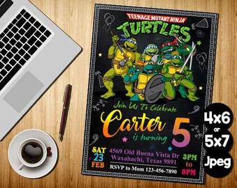 Ninja Turtle Invitation, Ninja Turtles Party, TMNT invitation, Teenage Mutant Ninja Turtle invitations, TMNT Birthday Invitation, TMNT Card