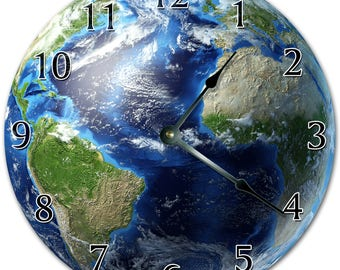 Globe clock etsy 105 planet earth clock living room clock large 105 wall clock home dcor clock 4468 gumiabroncs Gallery