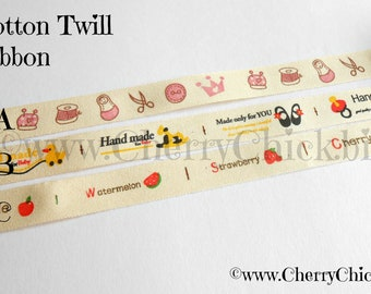 Cotton twill tape 5 yds - Sewing Label - Alphabet ribbon - Baby ribbon - Sewing ribbon - Cotton twill Ribbon - Ribbon Label - Handmade Label