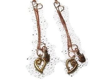Copper Metalwork  Earrings - Healing Heart and Hand