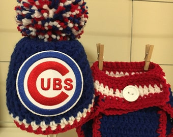 Chicago Cubs hat, Chicago Cubs newborn hat, Cubs diaper cover, baby Chicago Cubs hat, Chicago Cubs baby photo prop boy or girl Chicago Cubs