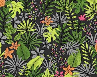 Pitaya black fabric, jungle, dragon fruit - 1/2 meter
