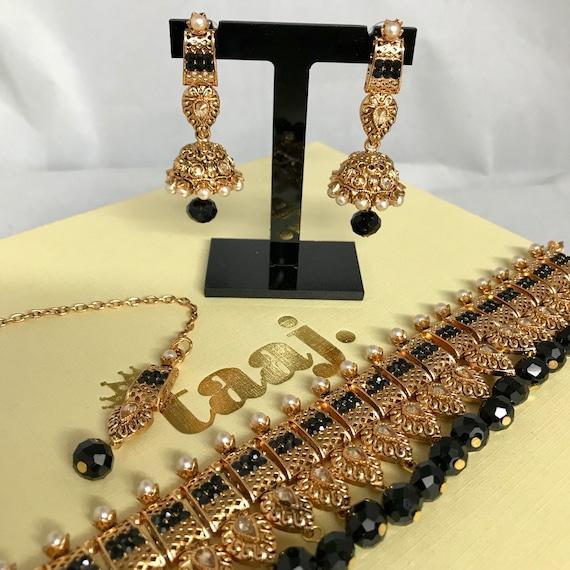 Zaha Gold and pearl black choker necklace jhumka earrings and tikka set indian bridal Pakistani jewellery