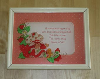 Vintage Strawberry Shortcake glass art by Lu Lu's - '...Friends are the berry best people of all!'