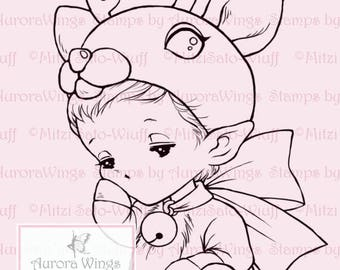 Reindeer Sprite - Aurora Wings Digital Stamp - Holiday Christmas Reindeer Baby Image - Fantasy Line Art Instant Download for Arts and Crafts