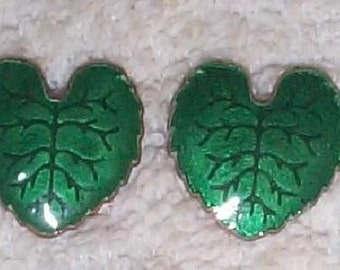 Pair Vintage Brass Enamel Leaves