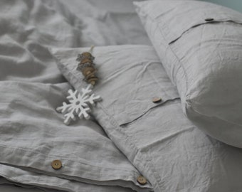 """Linen PILLOWCASE in a stone grey color Stonewashed linen pillow case EURO 26""""x26""""- Softened linen pillow sham with middle stitch"""