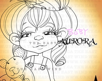 Digital stamp- 'BABY Aurora' Bedtime - 300 dpi JPEG/PNG files -  BBA0002
