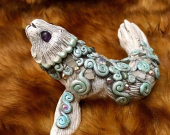 Selkie 2 hand sculpted figurine ...sculpey polymer clay seal sculpture numbered collectible