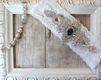 Vintage Wedding Garter with a Lovely Sapphire and Rhinestones on Comfortable Lace, Bridal Garter, Crystal Garter, Something Blue