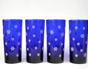 Libbey Cobalt Blue Highball Glasses, Snowflake Blue Tumblers, Vintage Blue White Water Glasses, Retro Blue Glassware Set Of 4 1990s 1993