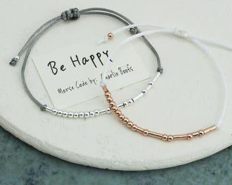 Morse Code 'Be Happy' Friendship Bracelet