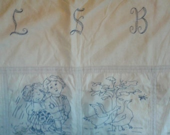 Antique, Child's Quilt Hand Embroidered Vintage Blue and White Quilt, Monogramed L S B, Charming!