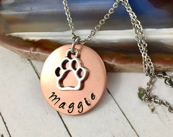 Personalised Pet Necklace, Hand Stamped Name Charm, Pet Lover Jewelry, Cat Lover Jewelry, Dog Lover Jewelry, Pet Jewelry, Gift For Pet Lover