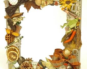 Handmade Collage Mirror, cottage mirror, up north mirror, country kitchen mirror, cabin mirror