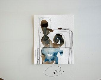 Mountains-Original Abstract Art Drawing on acid free paper-Modern art,minimal art, ink art, art, abstract art painting by Cristina Ripper