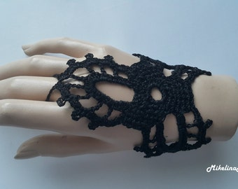 Crochet Mittens, Fingerless Gloves,Crochet Bracelet, Black, 100% Cotton.