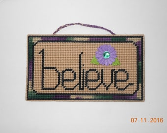 BELIEVE, brown, wall hanging, plastic canvas, inspirational