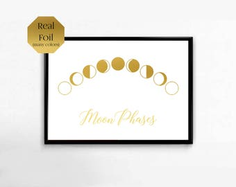 Moon Phases Sign, Lunar Cycle, Gold Foil Art Print, Night Sky, Living Room Decor, Solar System Home Decor