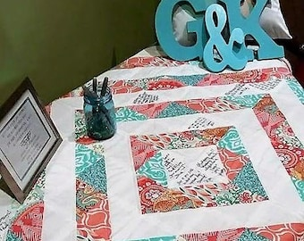 Custom Wedding Quilt - Guest Book Quilt - Autograph Quilt - Wedding Gift - You Choose Fabrics - Full/Double Size
