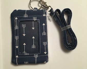 Hand Made Lanyard With ID Wallet in Navy Blue and White Arrow Print