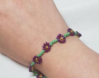 Purple Flowers Bracelet