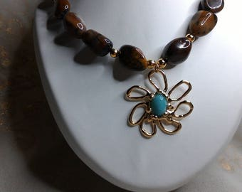 High fashion style necklace fossilized wood and amazonite