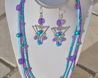 set three turquoise blue and purple