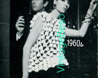 Top CROCHET PATTERN • INSTANT DOWNlOAD • PdF Pattern • 1960s Retro Pom Pom Shell Crochet Pattern Unique Ladies Avante Garde Crochet Pattern
