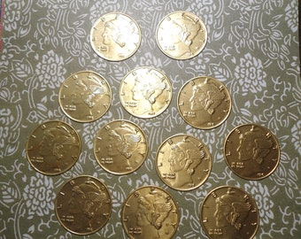 12 Brass Liberty Dollar Stampings Charms Findings