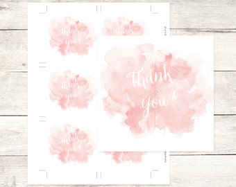 pink watercolor bridal shower favor tags wedding watercolour blush pink favor tags bridal shower thank you cards / INSTANT DOWNLOAD