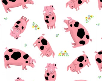 Henry Glass - Farm Life - Pigs - Pink - Fabric by the Yard 1182-12
