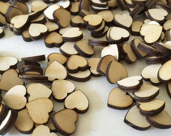 25 - 1/3 inch wood heart confetti - unfinished wooden hearts for wedding and parties