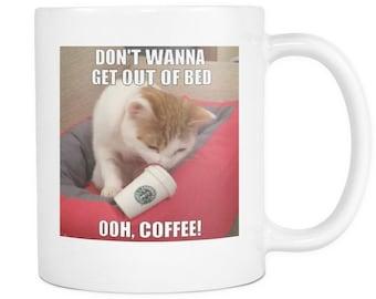 Coffee cat meme double sided 11 ounce mug