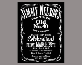 Jack Daniels 40th Birthday Invitation